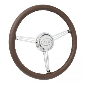Leather Wrapped Banjo Steering Wheel with Custom Etched Horn Button (Customer Supplied Artwork)