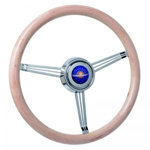 Maple Wood Banjo Steering Wheel with Custom Crafted Oldsmobile Horn Button (Customer Supplied Artwork)