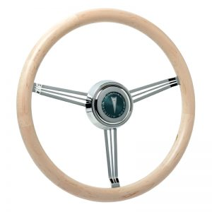 Maple Wood Banjo Steering Wheel with Custom Pontiac Emblem-Inlaid Horn Button