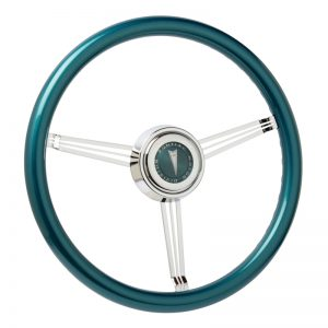 Custom Teal Banjo Steering Wheel with Pontiac Emblem-Inlaid Horn Button (Customer Supplied Emblem)