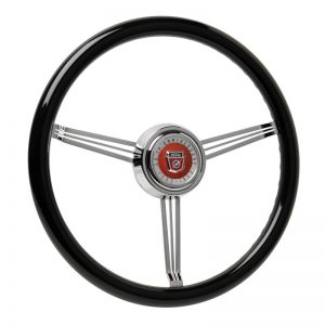 Simply Black Banjo Steering Wheel with Custom Ford Emblem-Inlaid Horn Button