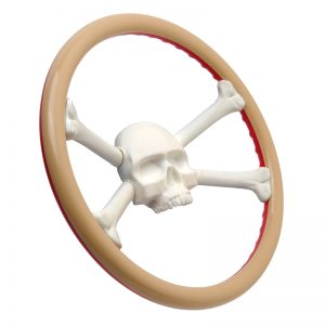 Tan and Red Jolly Roger Steering Wheel