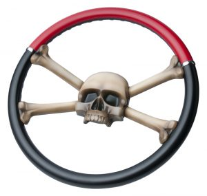 Custom Painted Jolly Roger Steering Wheel