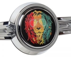 Rasta Lion Custom Crafted Horn Button