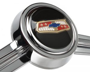 Black Chevy BelAir Emblem Inlaid Horn Button